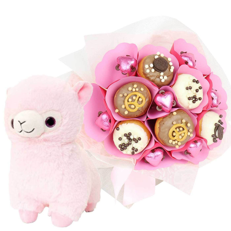 Baby Pink Llama Donut Bouquet - central London only