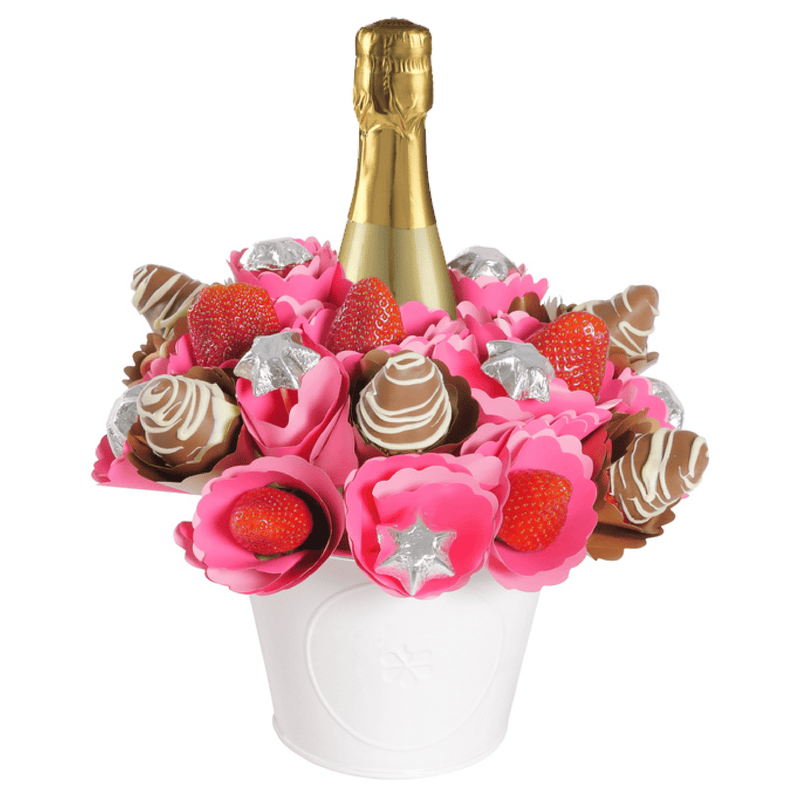 Pink Strawberry Prosecco Chocolate Bouquet - central London only