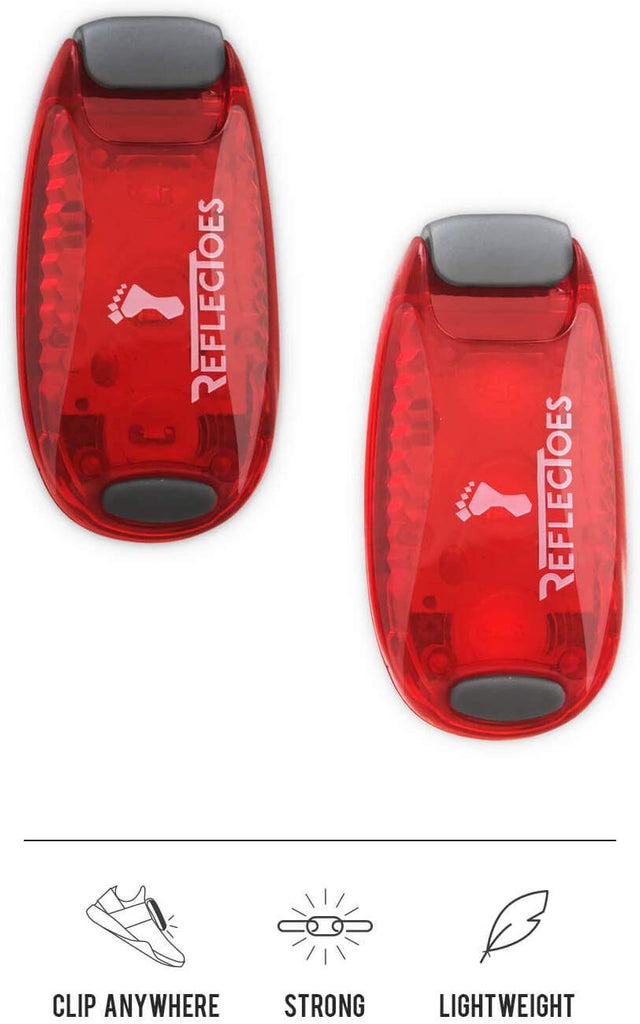 ReflecToes LED Safety Lights for Runners Clip Attach - Set of 2