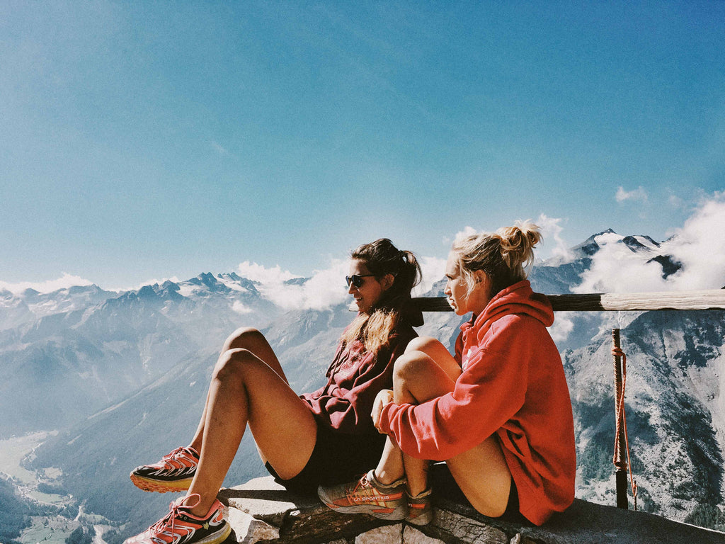 Sitting on top of a mountain