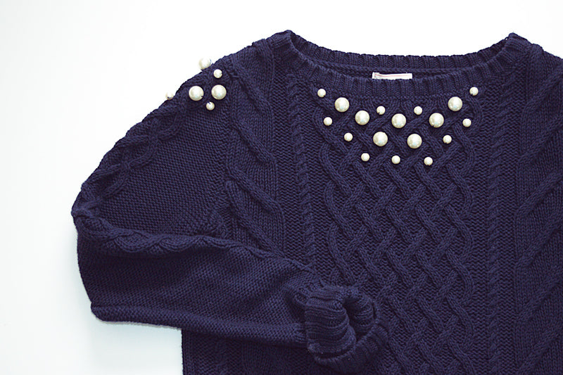 DIY Pearl Embellished Sweater