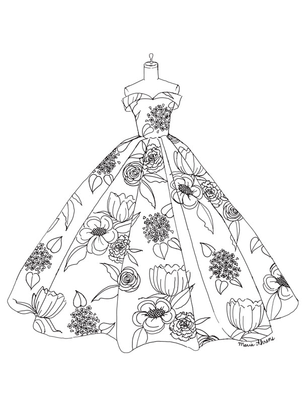Flower garden dress fashion coloring page by Maria Ahrens