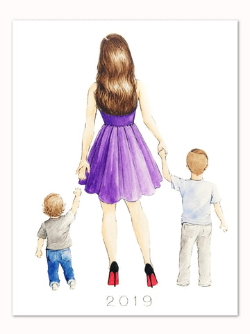 Mother and sons custom watercolor portrait painting by Maria Ahrens