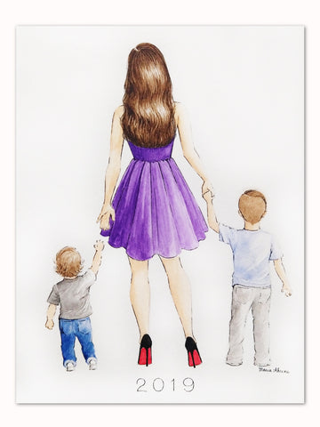 Mother and sons custom watercolor fashion illustration
