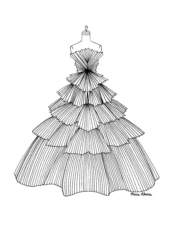 Pleated dress fashion coloring page by Maria Ahrens