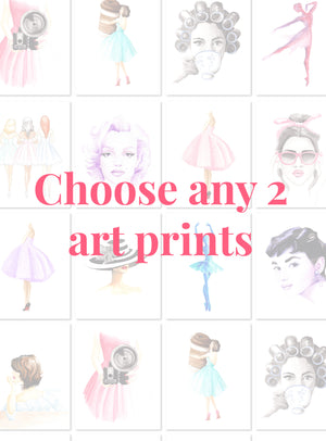 Custom Set of 2 Fashion Illustration Watercolor Art Prints