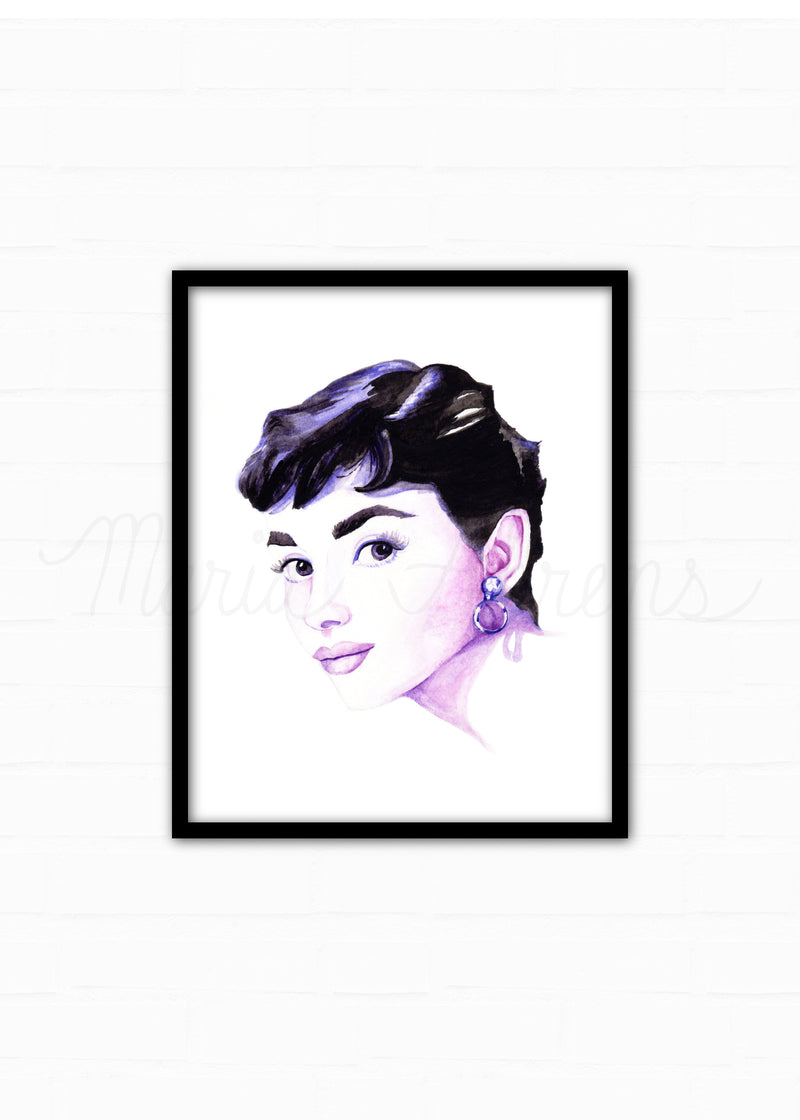 Audrey Hepburn Fashion Illustration Watercolor Art Print
