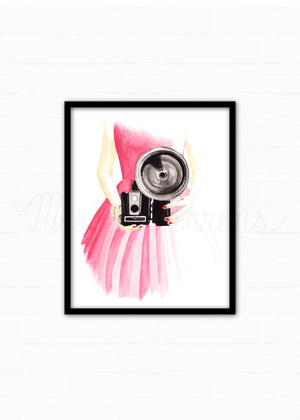 Vintage Camera Fashion Illustration Watercolor Art Print