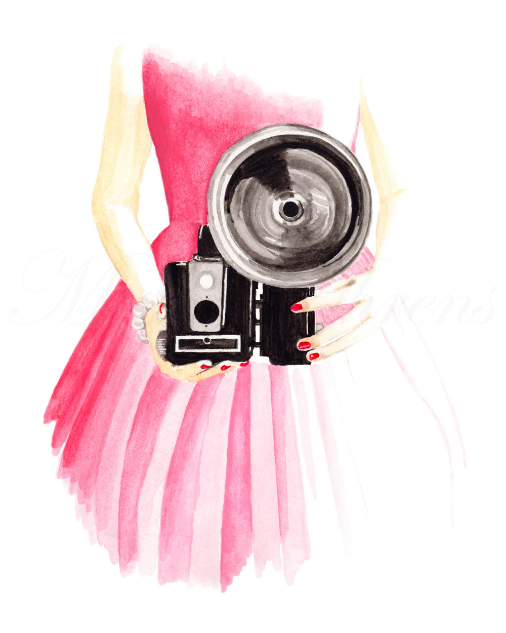 Vintage Camera Mini Fashion Illustration Art Print artwork by Maria Ahrens