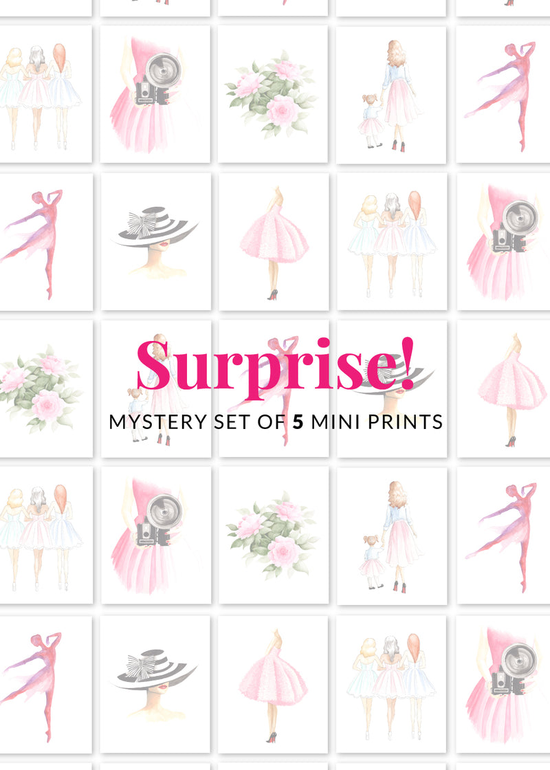 Surprise Set of 5 Mini Fashion Illustration Art Prints artwork by Maria Ahrens