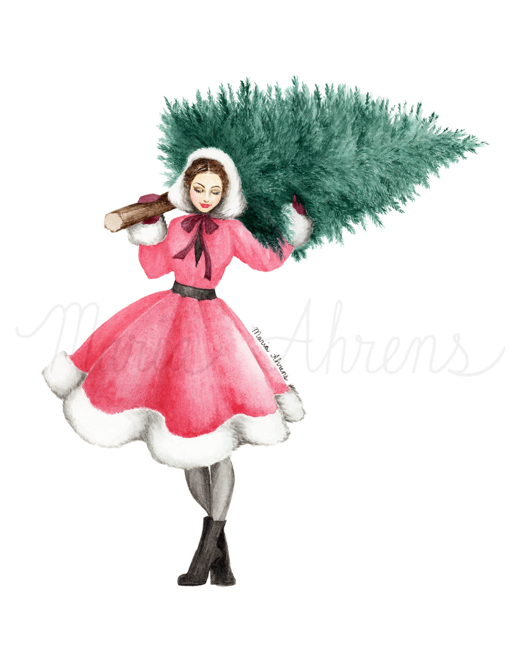 Christmas Tree Limited Edition Printable Watercolor Fashion Illustration