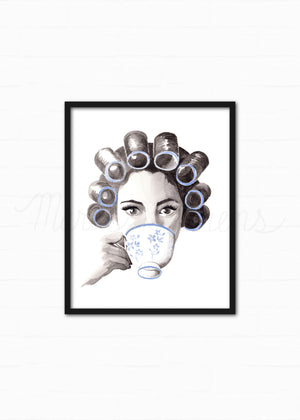 Coffee or Tea Fashion Illustration Watercolor Art Print