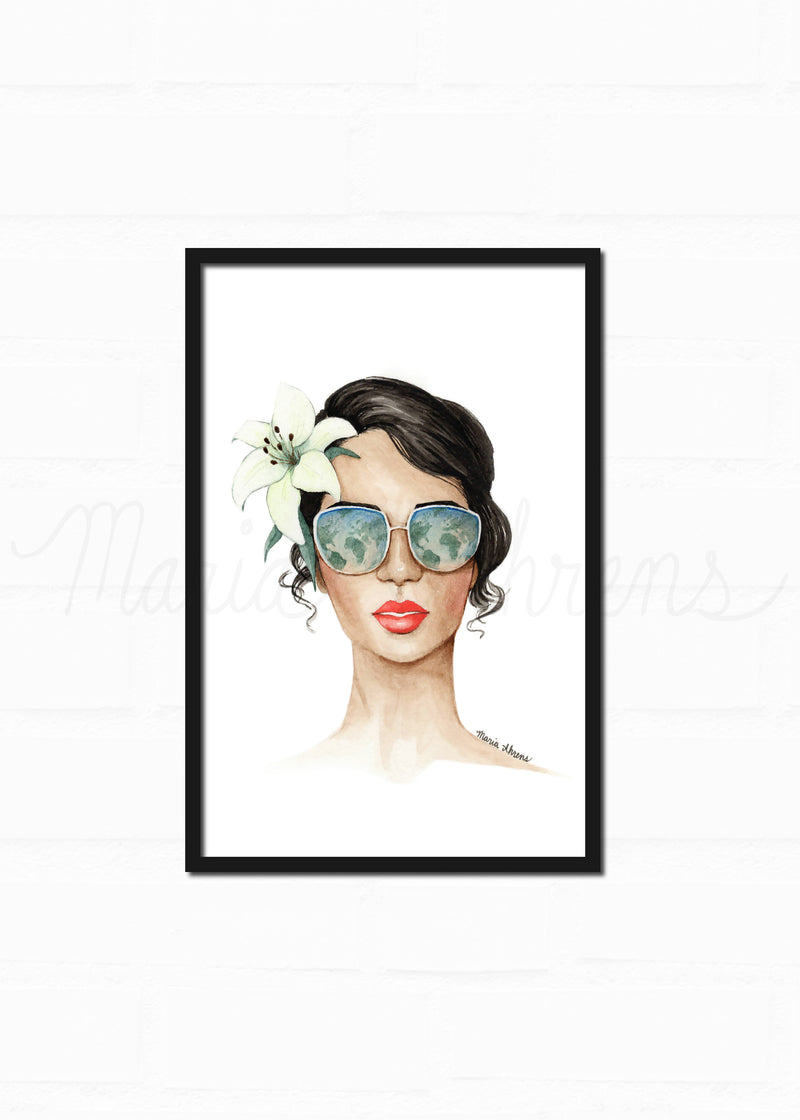 Earth Day Original Watercolor Painting Fashion Illustration