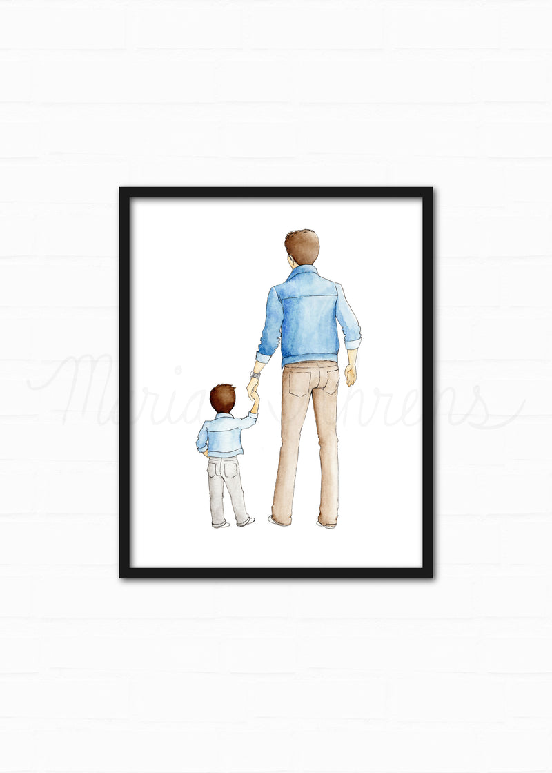 Customizable Father Son Fashion Illustration Watercolor Art Print