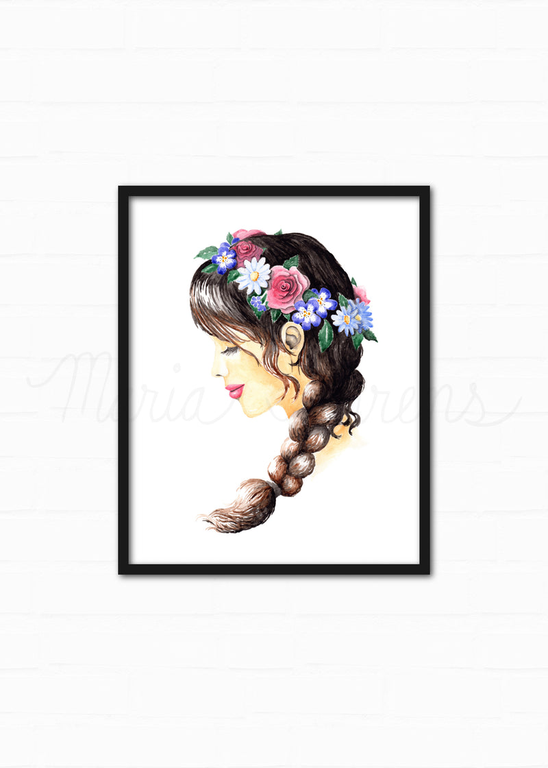 Flower Crown Watercolor Fashion Illustration Art Print