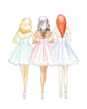 Friendship Fashion Illustration Watercolor Art Print