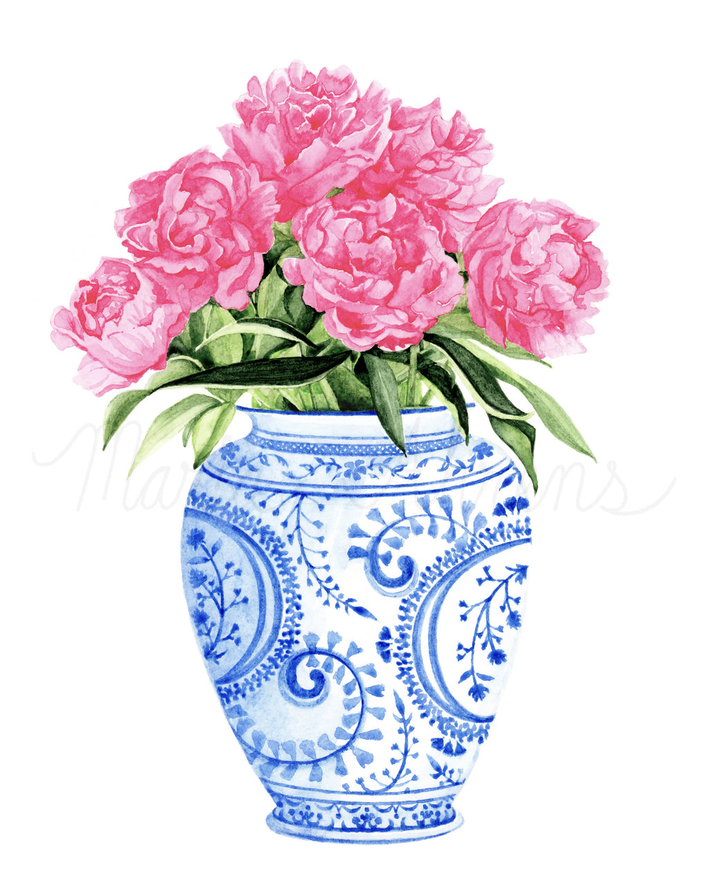 Ginger Jar Peonies Printable Watercolor Fashion Illustration