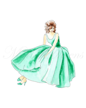 Green Dress Original Watercolor Painting Fashion Illustration