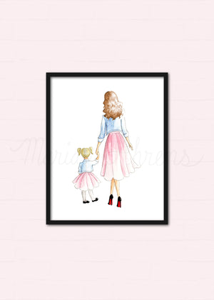 Customizable Mother Daughter Fashion Illustration Watercolor Art Print