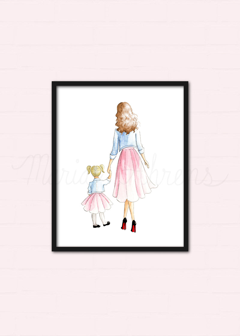 Customizable Mother Daughter Fashion Illustration Art Print