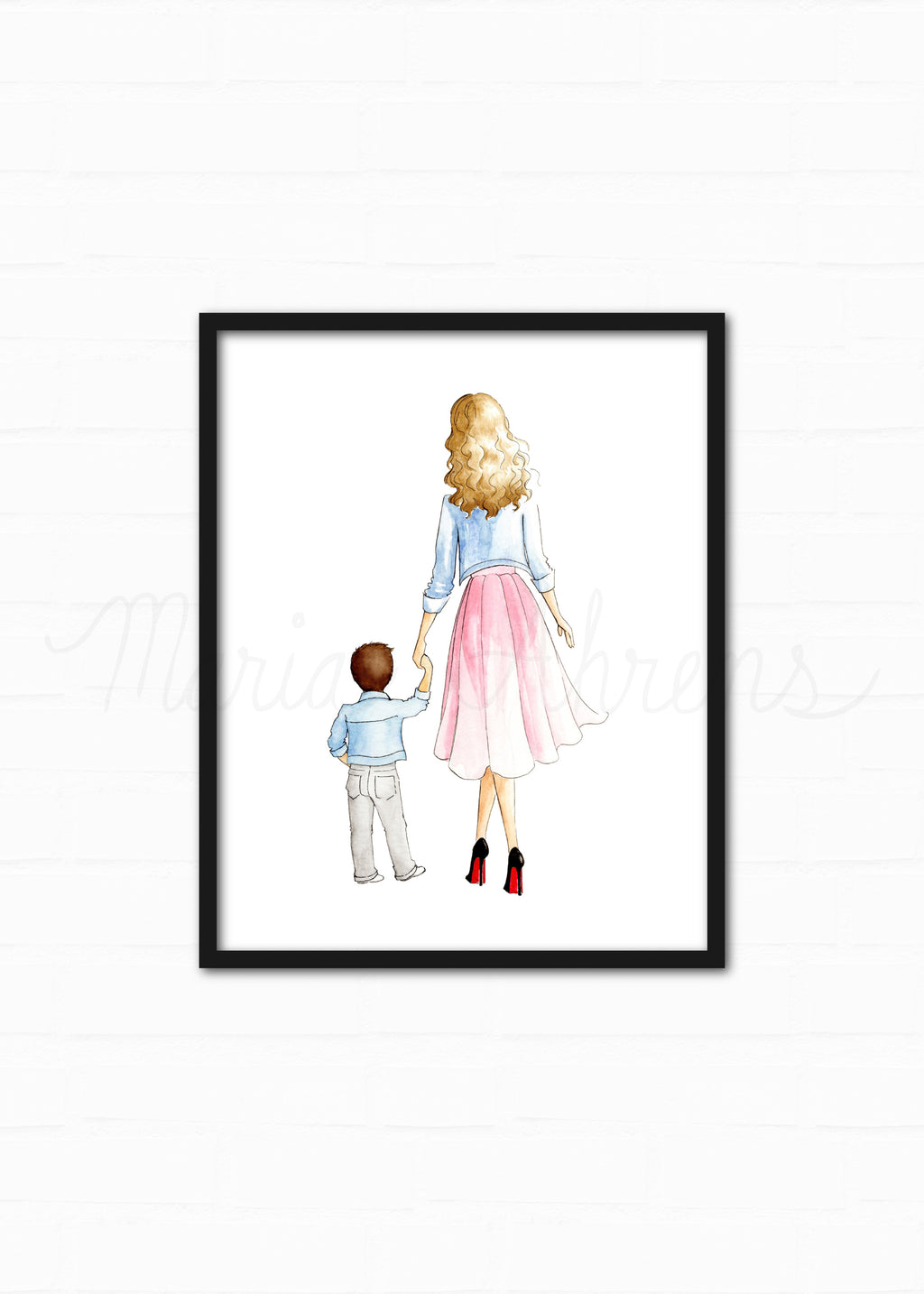 Customizable Mother Son Fashion Illustration Watercolor Art Print