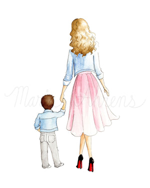 Customizable Mother Son Fashion Illustration Art Print