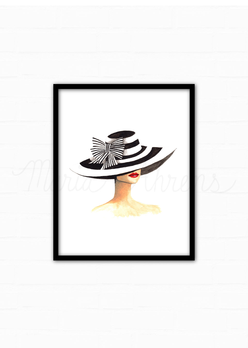 Derby Hat Fashion Illustration Watercolor Art Print