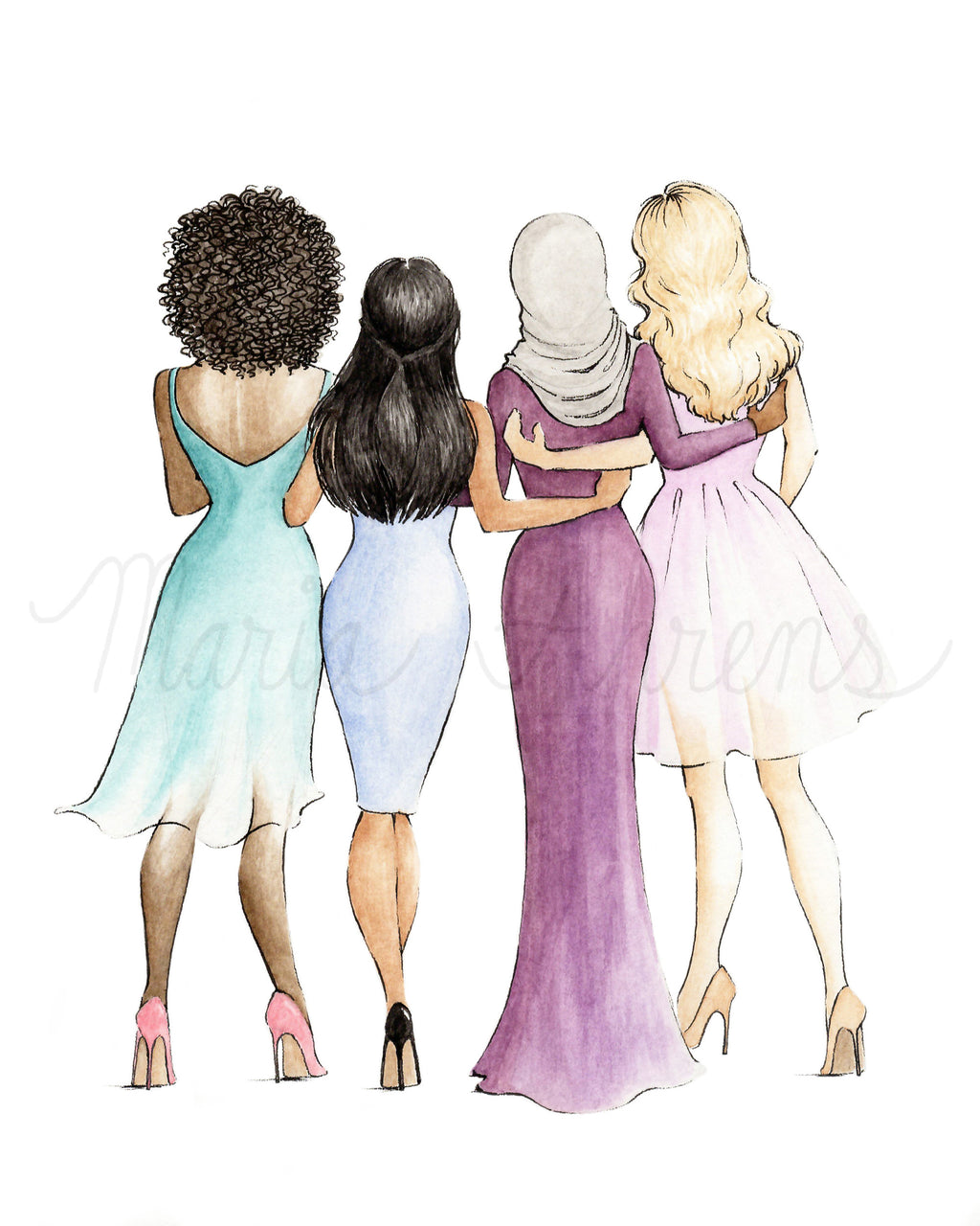 Women Supporting Women Friendship Printable Art Watercolor Fashion Illustration