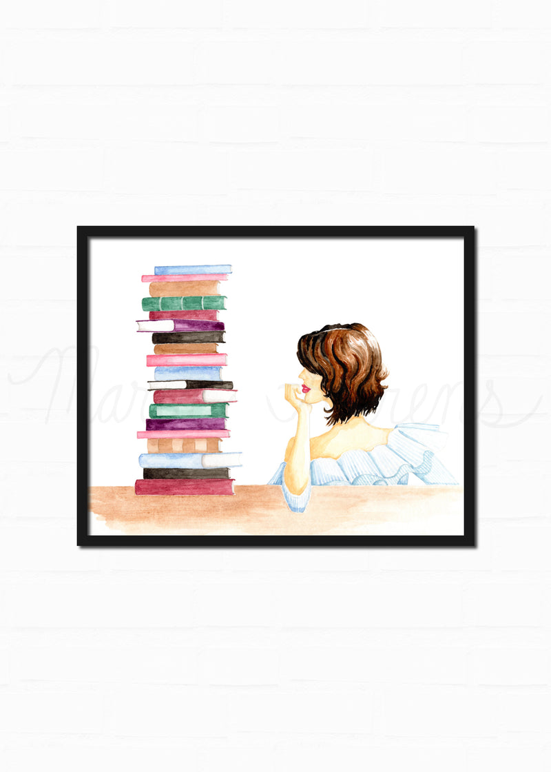Bookworm Fashion Illustration Watercolor Art Print