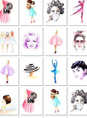Custom Set of 3 Fashion Illustration Watercolor Art Prints