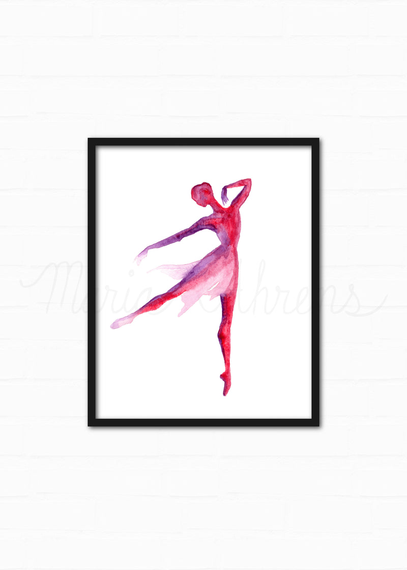 Red and Purple Ballerina Watercolor Art Print