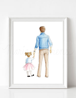Customizable Father Daughter Fashion Illustration Art Print