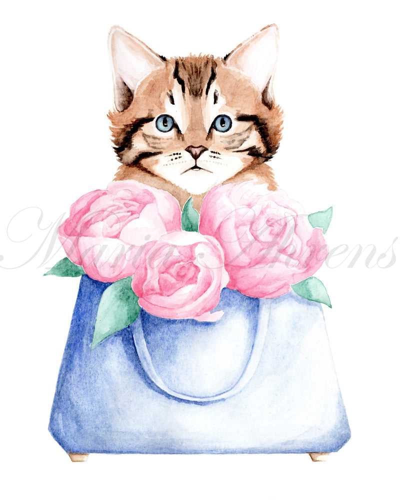 Cat and Bag Original Watercolor Painting Fashion Illustration