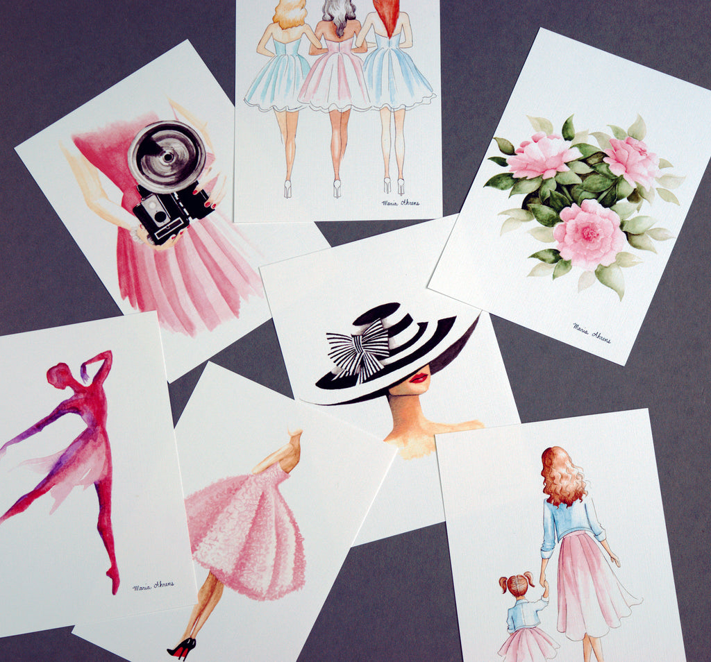 Custom Set of 5 Mini Fashion Illustration Art Prints