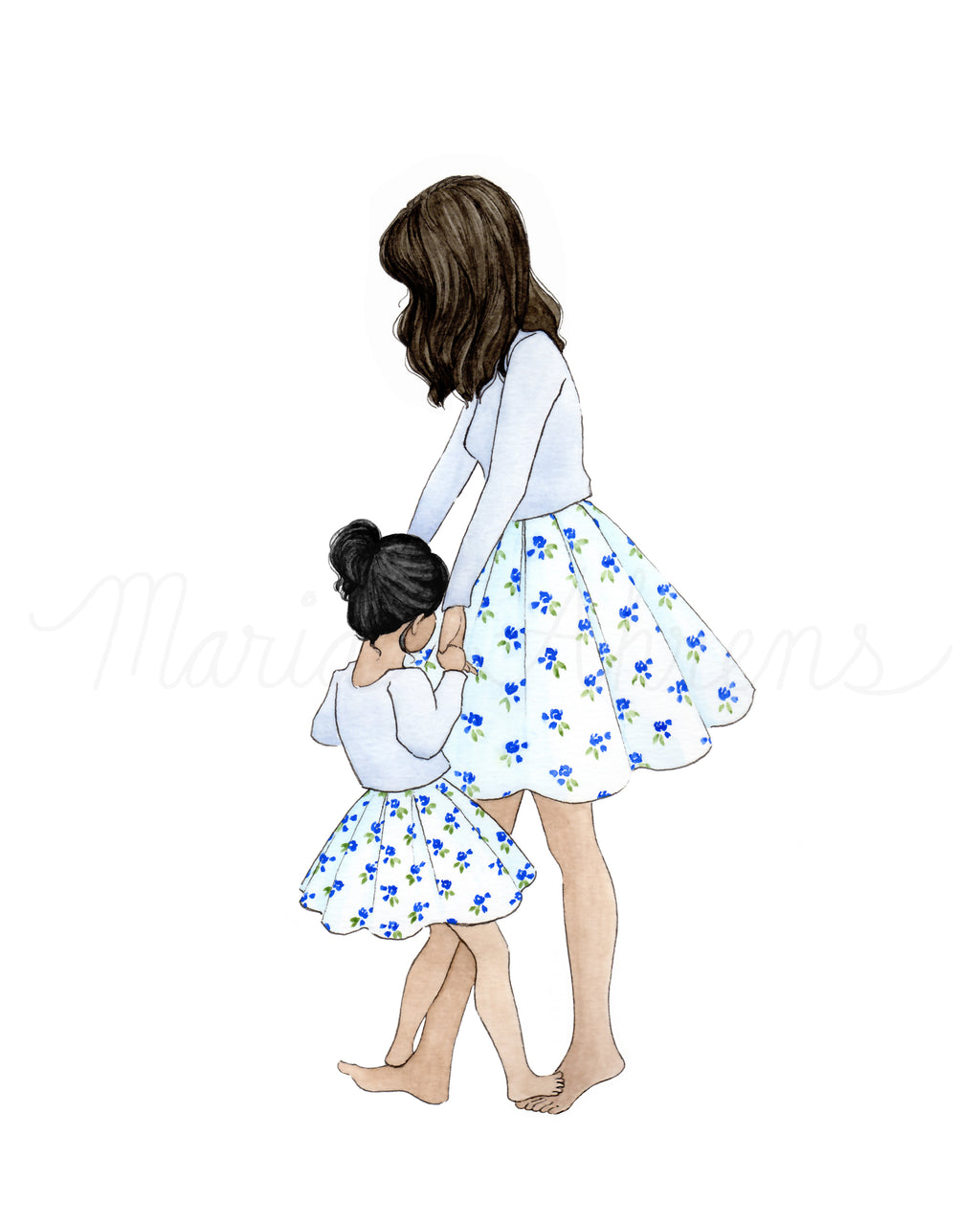 Customizable Mother Daughter Dancing Watercolor Fashion Illustration Art Print