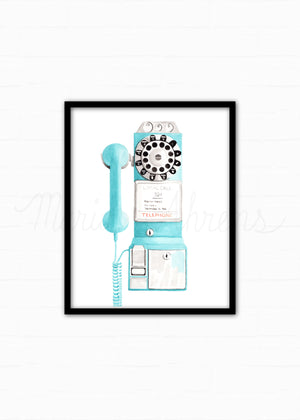 Vintage Payphone Watercolor Art Print