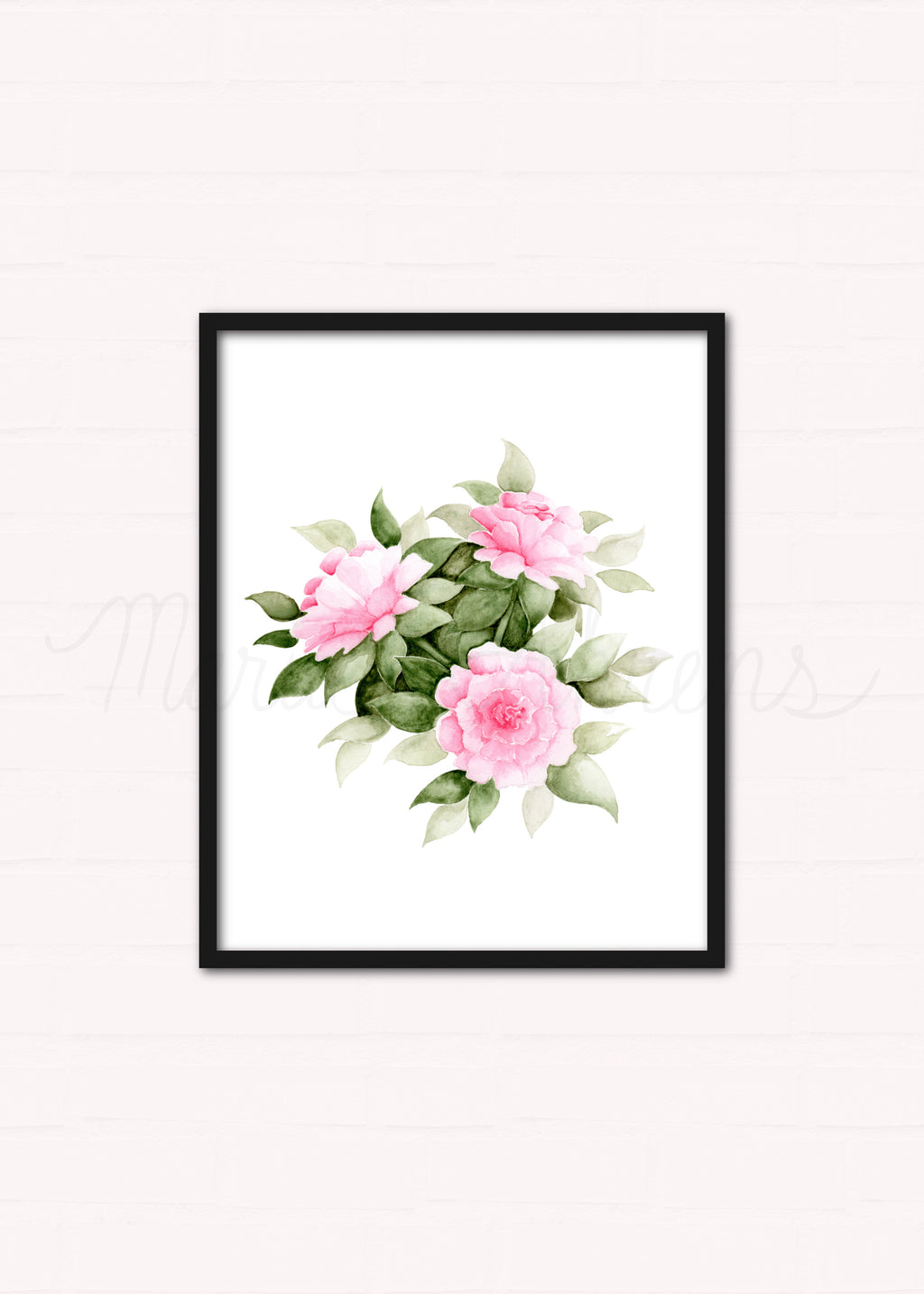 Pink Carnations Watercolor Floral Art Print