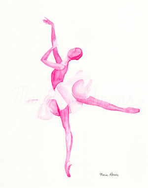Pink Ballerina Original Watercolor Painting