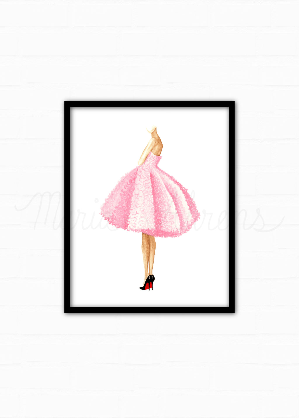 Pink Dress Fashion Illustration Watercolor Art Print
