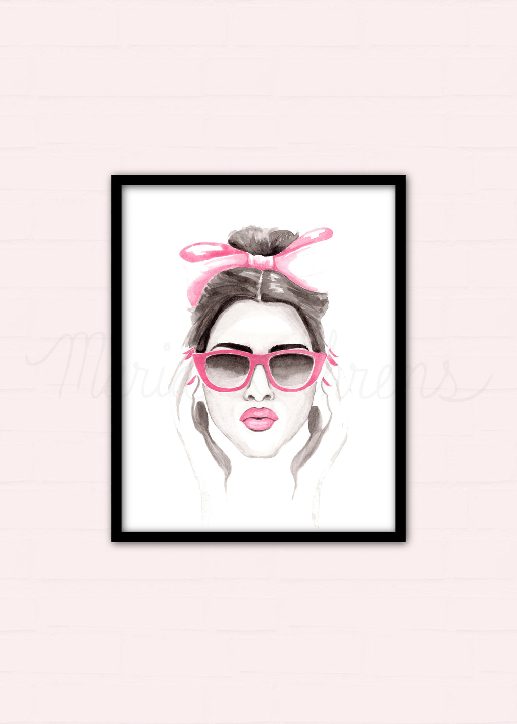 Pink Lady Print Fashion Illustration Watercolor Art Print