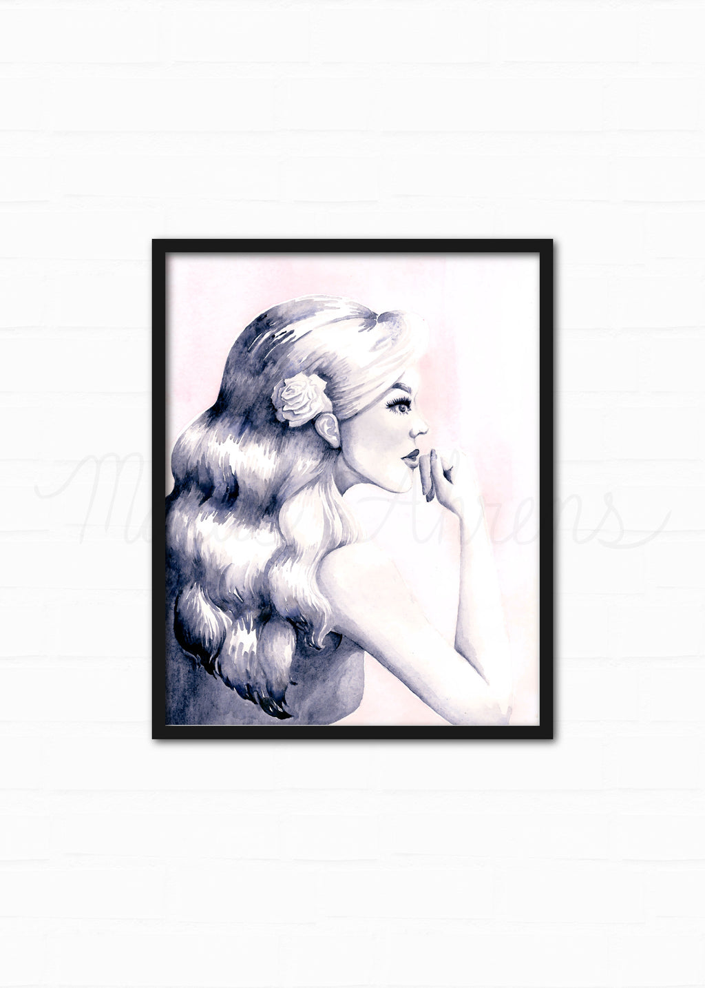 Pondering Pink Original Watercolor Painting Fashion Illustration