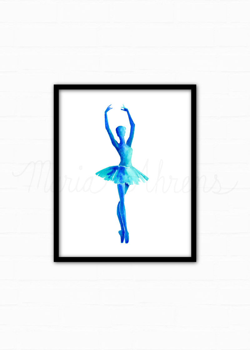 Teal Ballerina Watercolor Art Print