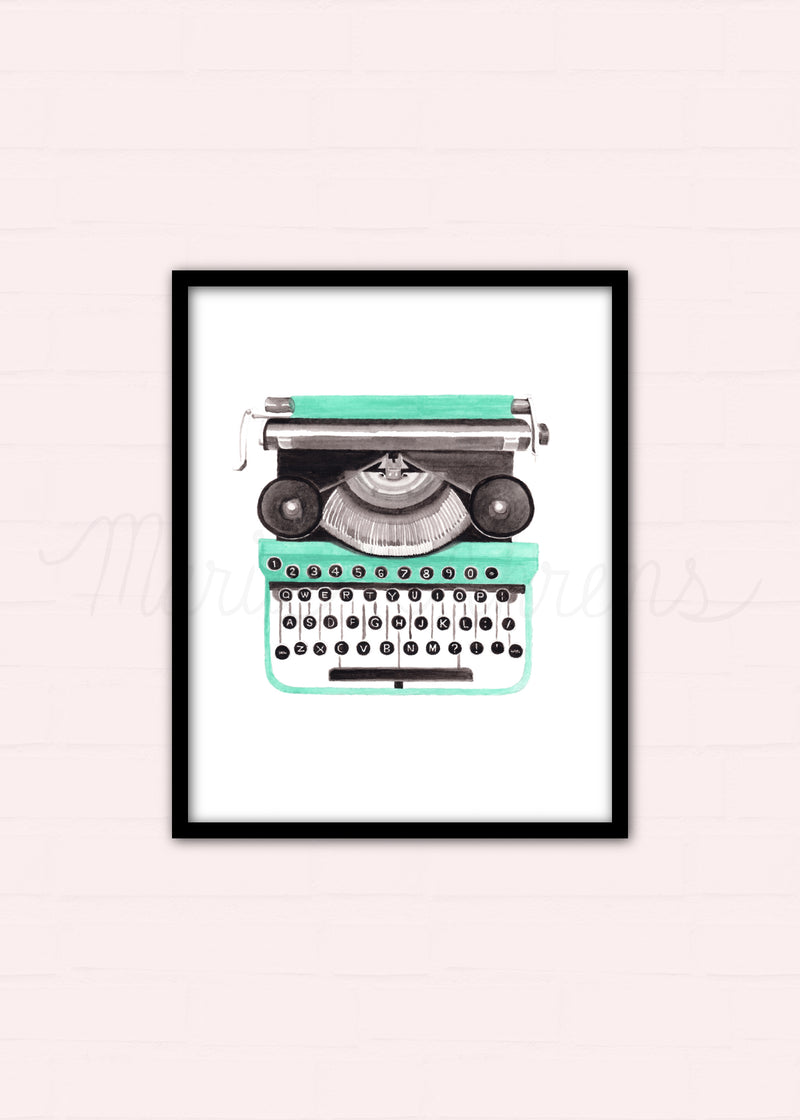 Vintage Typewriter Watercolor Art Print