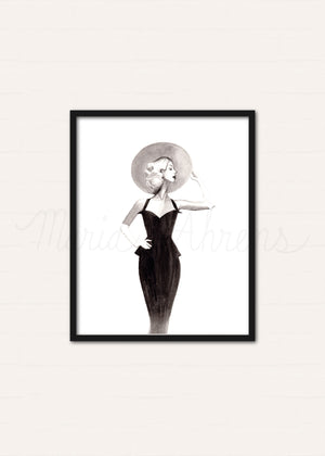 Vintage LBD Fashion Illustration Original Watercolor Painting