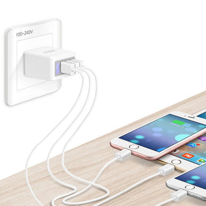 EU US UK Plug 5V 2.1A 3 Port Fast USB Wall Charger