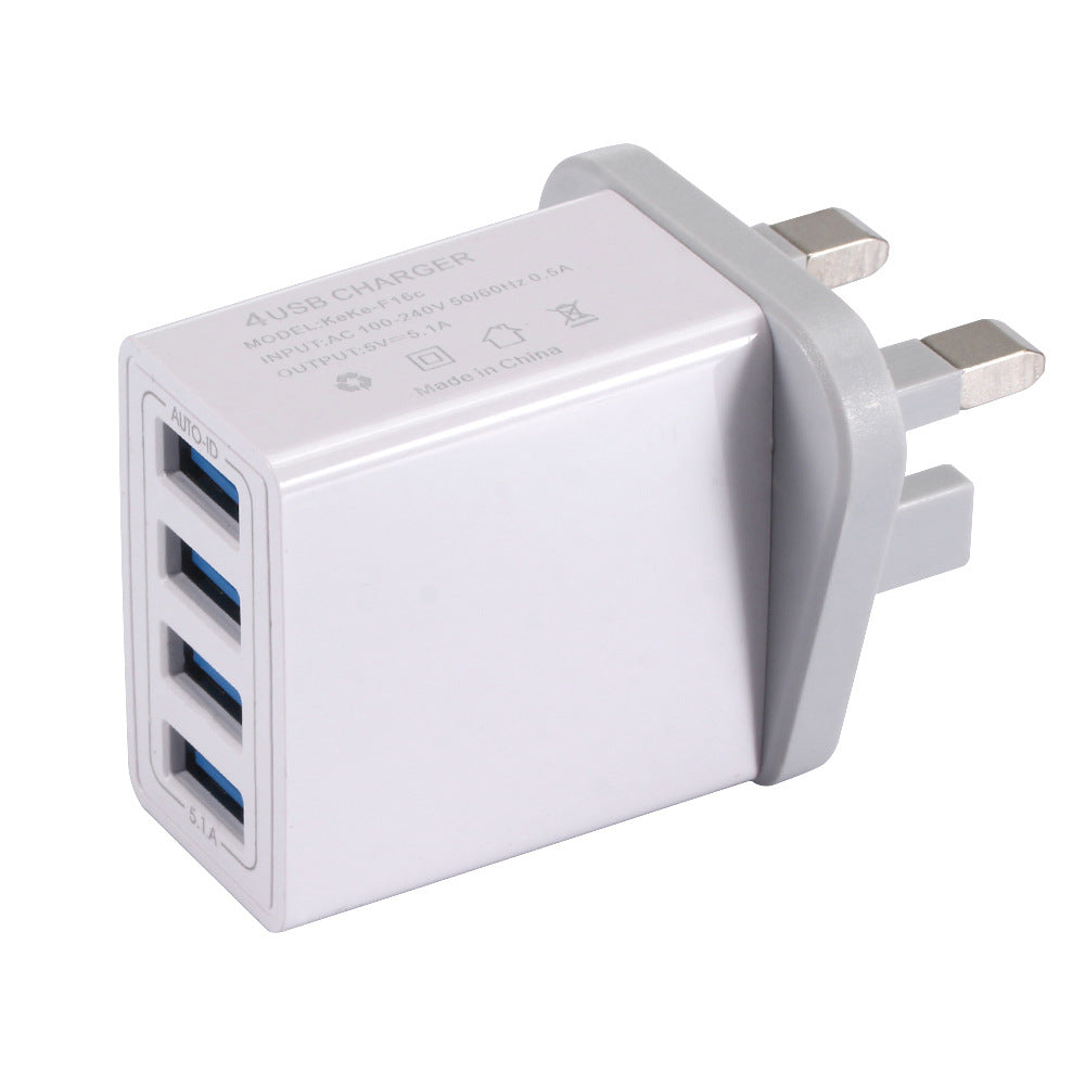 EU US UK Plug 4 Ports Quick Charger 25.5W Wall Charger for Xiaomi, IPhone, Huawei, Samsung