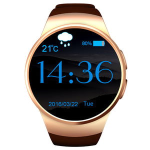 KW18 Round Dial Smartwatch Phone SIM Card MTK2502 Pedometer Bluetooth 4.0 Heart Rate Monitor Sport Tracker