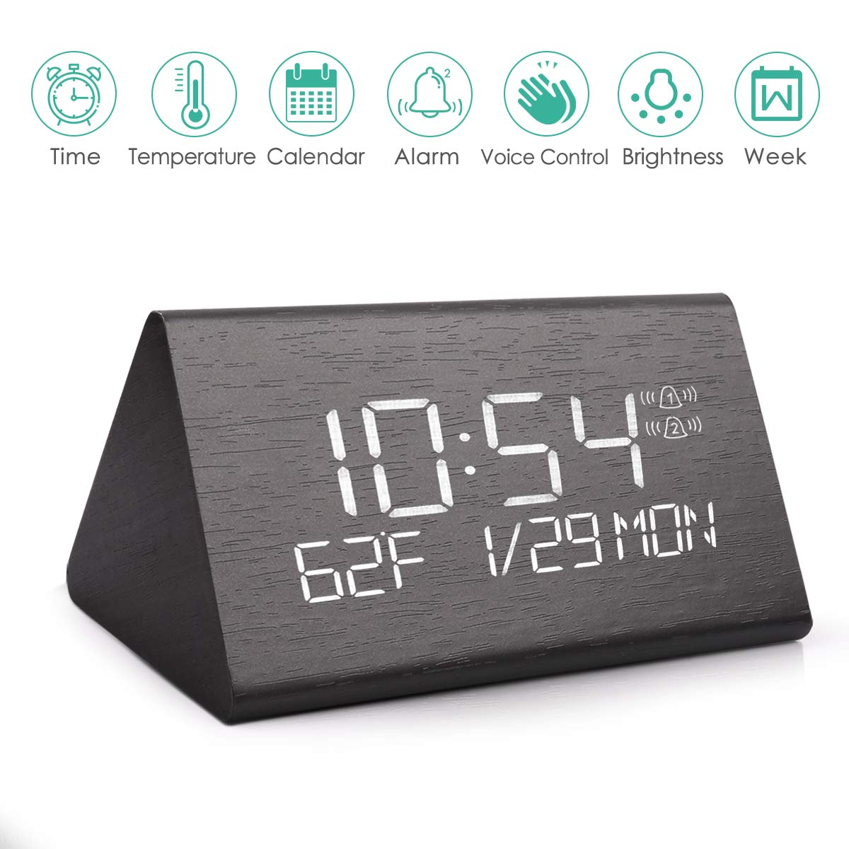 Voice Command Electric LED Bedside Travel Triangle Wooden Digital Alarm Clock