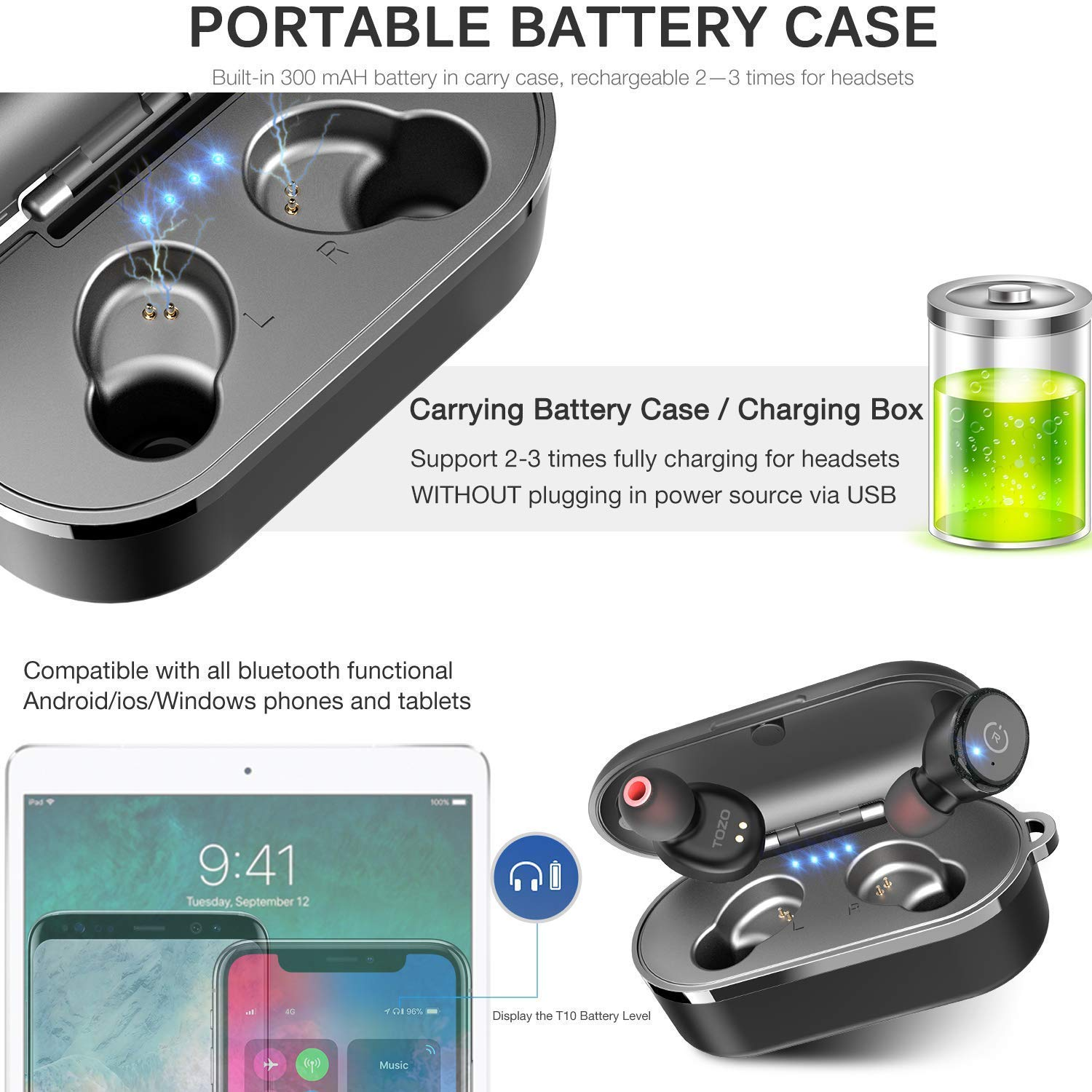 Bluetooth 5.0 Earbuds with Wireless Charging Case Headphones IPX8 Waterproof