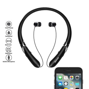 Bluetooth Headphones Retractable Earbuds Neckband Wireless Headset Sport Sweatproof Earphones with Mic